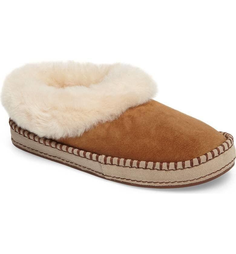 "The fluffy genuine shearling collar adds the perfect amount of plush to this <a href=""https://shop.nordstrom.com/s/ugg-wrin-genuine-shearling-trim-slipper-women/4631938?origin=category-personalizedsort&fashioncolor=NAVY%20FABRIC"" target=""_blank"">durable but soft slipper</a>."