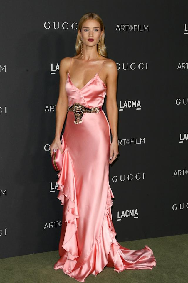 <p>Satin gowns worked a treat on the red carpet this year with Rosie's lingerie-inspired Gucci number hitting the top spot. <i>[Photo: Getty]</i> </p>