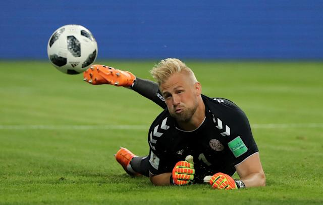 Soccer Football - World Cup - Group C - Peru vs Denmark - Mordovia Arena, Saransk, Russia - June 16, 2018 Denmark's Kasper Schmeichel scrambles as Peru have a chance to score REUTERS/Marcos Brindicci TPX IMAGES OF THE DAY