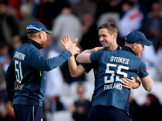 Chris Woakes celebrates his five-wicket haul (Getty)