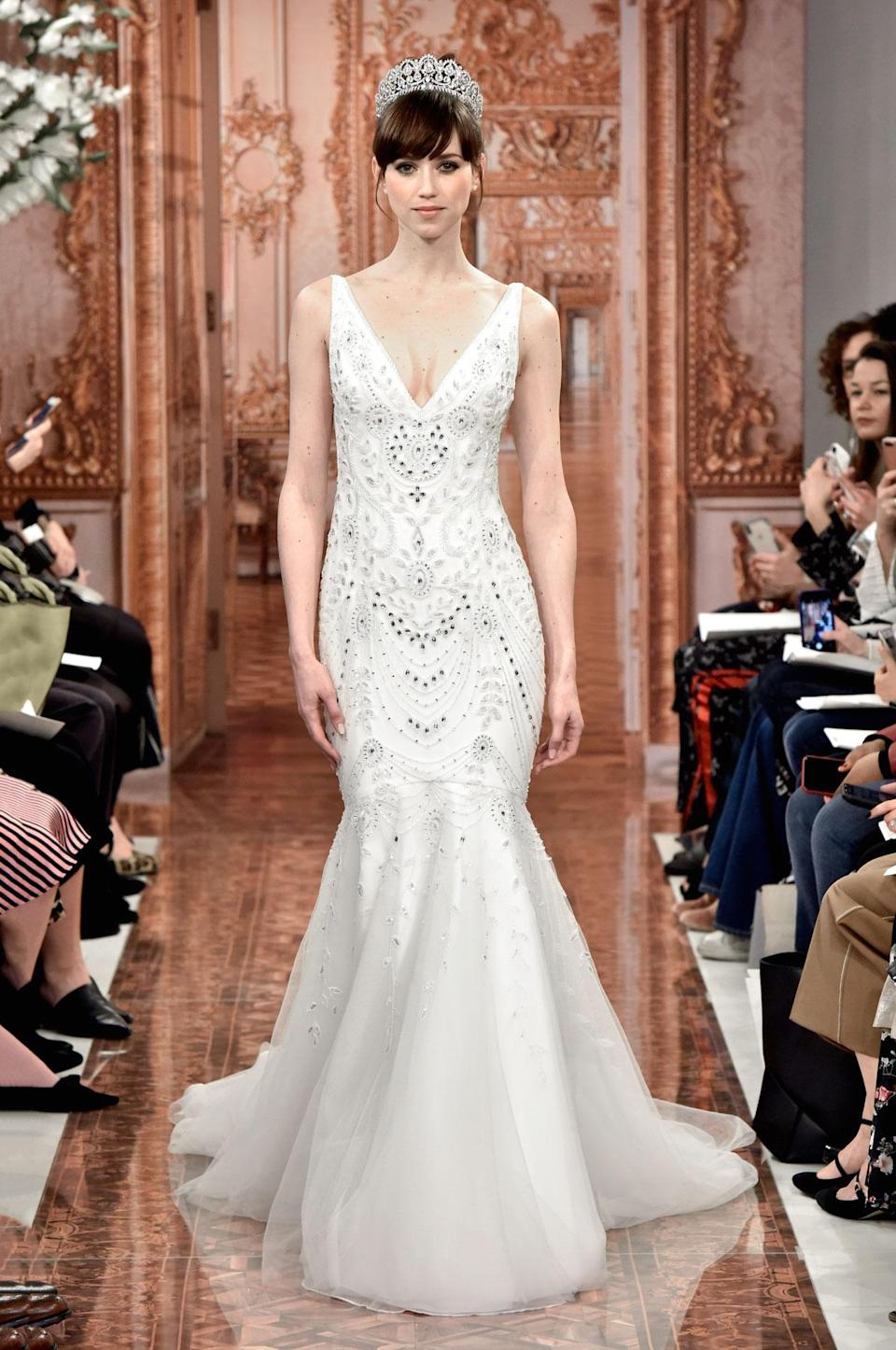 <p>Crystal trumpet dress. (Photo: Courtesy of Theia) </p>