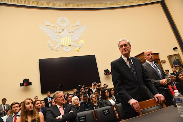 Former special counsel Robert Mueller arrives for the House Intelligence Committee hearing on the 'Investigation into Russian Interference in the 2016 Presidential Election.' Mueller, who investigated alleged Russian interference during the 2016 presidential election, said in May that his report