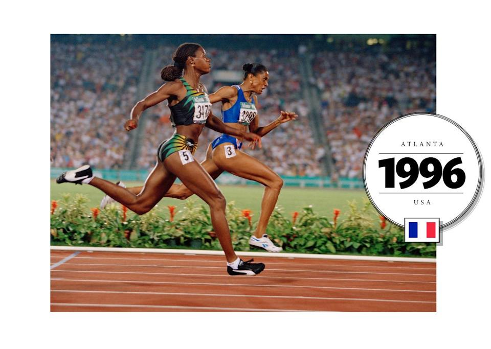 At the 1996 Olympics in Atlanta, French runner Marie-José Pérec wore a midriff-baring, cropped top on the track. (Getty Images)