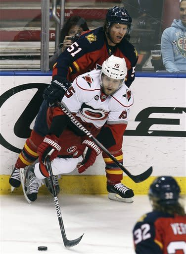 Florida Panthers' Brian Campbell (51) and Carolina Hurricanes' Tuomo Ruutu (15) fight for the puck during the first period of a NHL hockey game in Sunrise, Fla., Saturday, April 7, 2012. (AP Photo/J Pat Carter)