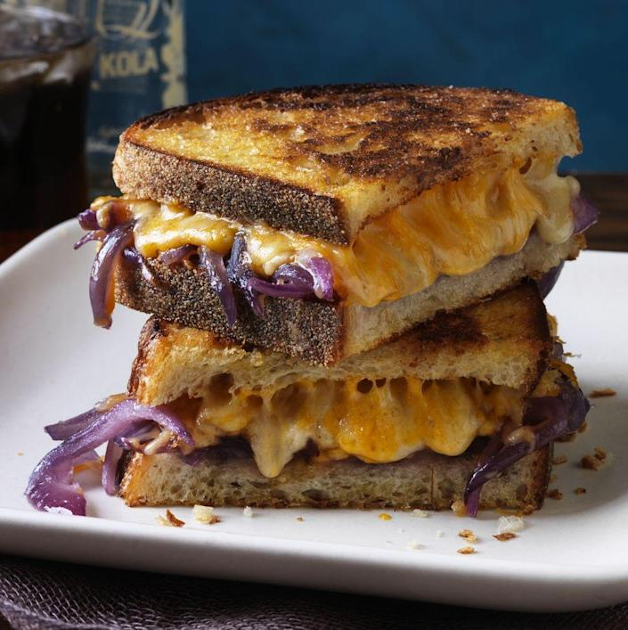 """<p>For a smokey and savory combination, this grilled recipe recipe hits all the right notes. </p><p><em><strong>Get the recipe at <a href=""""https://www.goodhousekeeping.com/food-recipes/a15356/grilled-cheese-bourbon-melted-onions-recipe-rbk0313/"""" rel=""""nofollow noopener"""" target=""""_blank"""" data-ylk=""""slk:Good Housekeeping."""" class=""""link rapid-noclick-resp"""">Good Housekeeping.</a></strong></em></p>"""