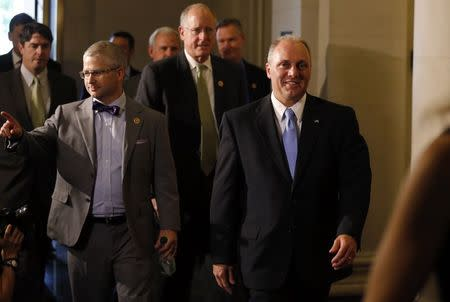 House Majority Whip candidate Scalise arrives with Rep. McHenry for House Republican leadership elections in the Longworth House Office Building on Capitol Hill in Washington