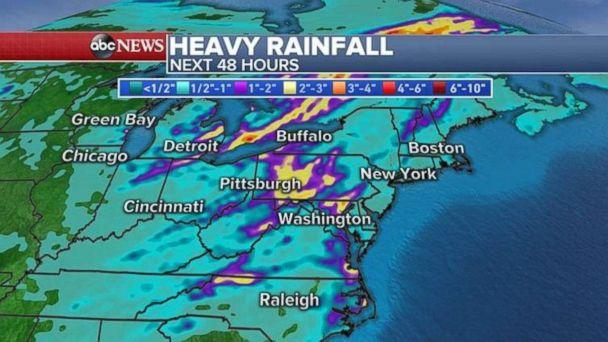 Locally, over 3 inches of rainfall is possible in parts of Pennsylvania and western New York. (ABC News)