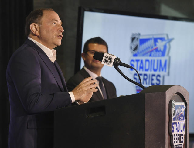 NHL Commissioner Gary Bettman speaks during a news conference at Falcon Stadium about the hockey Stadium Series game between the Los Angeles Kings and the Colorado Avalanche to be played Feb, 15 at the stadium at Air Force Academy, Colo. (Jerilee Bennett/The Gazette via AP)