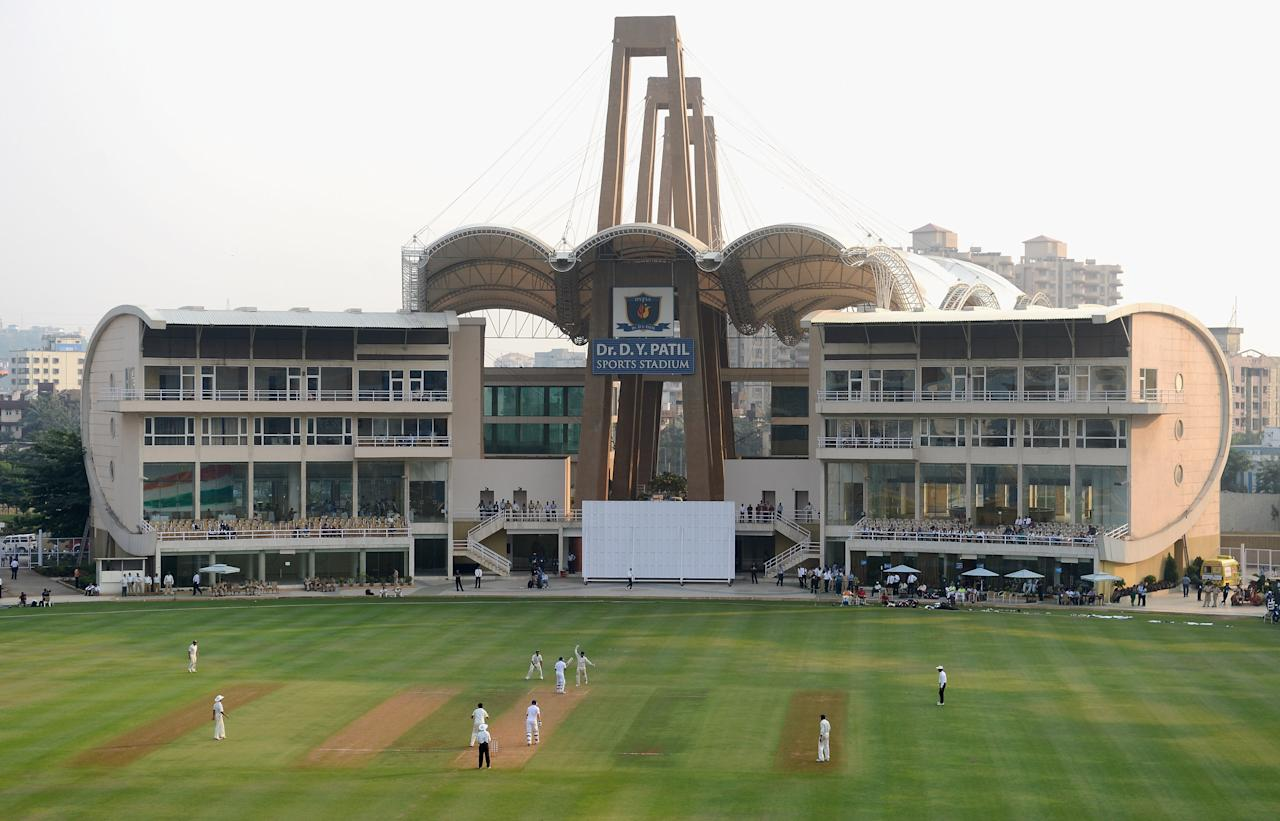 MUMBAI, INDIA - NOVEMBER 03:  General view of play during day one of the tour match between Mumbai A and England at The Dr D.Y. Palit Sports Stadium on November 3, 2012 in Mumbai, India.  (Photo by Gareth Copley/Getty Images)