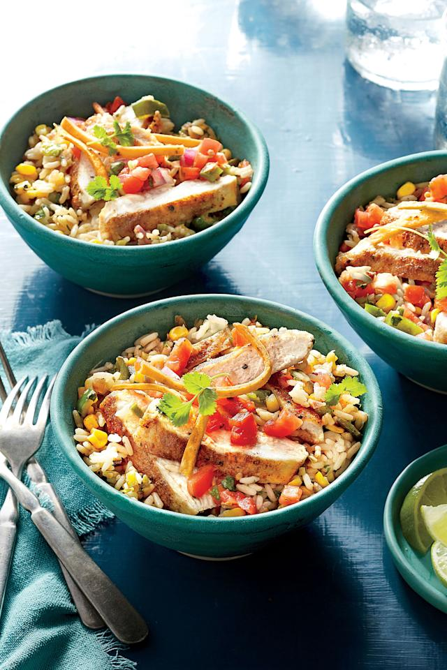 """<p><b>Recipe: <a rel=""""nofollow"""" href=""""http://www.myrecipes.com/recipe/southwest-chicken-cutlet-rice-bowl"""">Southwest Chicken Cutlet Rice Bowl </a></b></p> <p>The easiest way to get <a rel=""""nofollow"""" href=""""http://www.southernliving.com/food/southern-living-june-2016-recipes#southwest-chicken-tortillas-recipe-image"""">Southwest flavor</a> is with a one-dish recipe.</p>"""