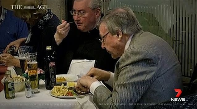 Cardinal George Pell was spotted drinking a large beer and enjoying a hearty meal six weeks after stating he could not fly to Australia for risk of 'heart failure'. Photo: The Age