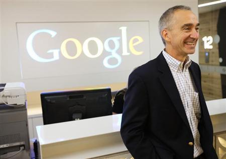Google CFO Pichette smiles in the new Google office in Toronto