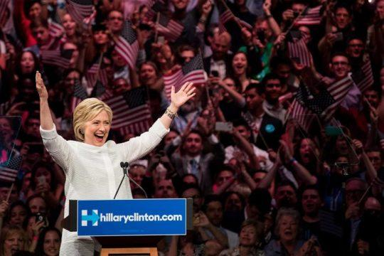 Hillary Clinton became the Democratic Party's presumptive presidential nominee on Tuesday night. She will become the first woman in U.S. history to secure the presidential nomination of one of the country's two major political parties. (Photo by Drew Angerer/Getty Images)