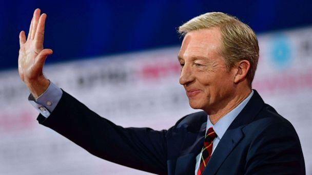 PHOTO: Democratic presidential hopeful businessman Tom Steyer waves ahead of the sixth Democratic primary debate of the 2020 presidential campaign season co-hosted by PBS NewsHour & Politico at Loyola Marymount University in Los Angeles, Dec. 19, 2019. (Frederic J. Brown/AFP via Getty Images, FILE)