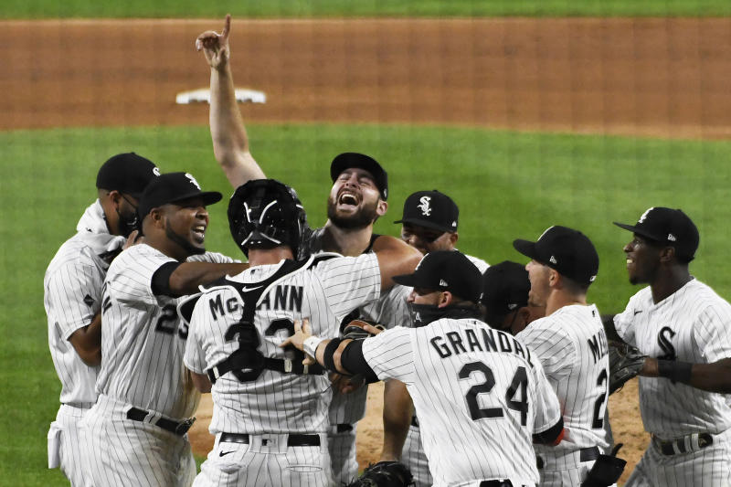 Lucas Giolito of the Chicago White Sox celebrates his no-hitter. (Getty Images)