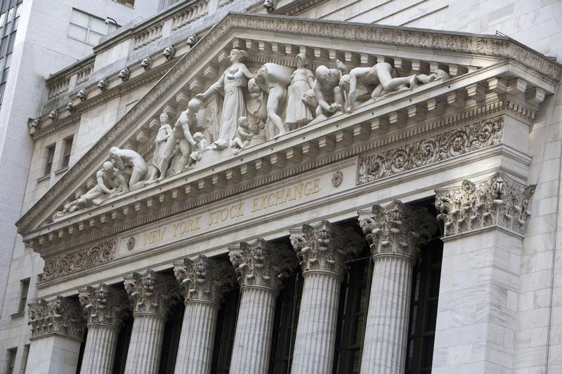 An exterior shot of the New York Stock Exchange in New York