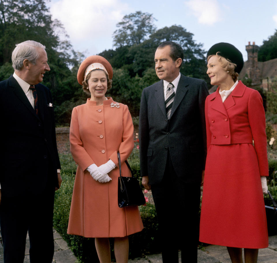 1970: The Queen with Mr Edward Heath and Mr and Mrs Richard Nixon at Chequers, the official country residence of the Prime Minister in Buckinghamshire.
