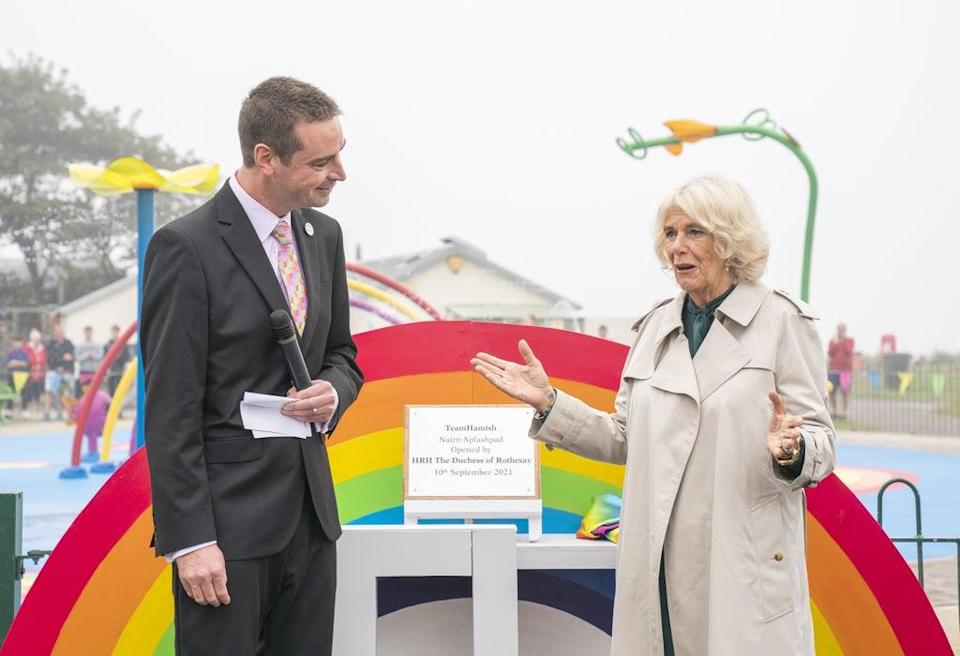 The Duchess of Cornwall, with Sam Heys at the opening of the Team Hamish Splashpad in Nairn (Jane Barlow/PA) (PA Wire)