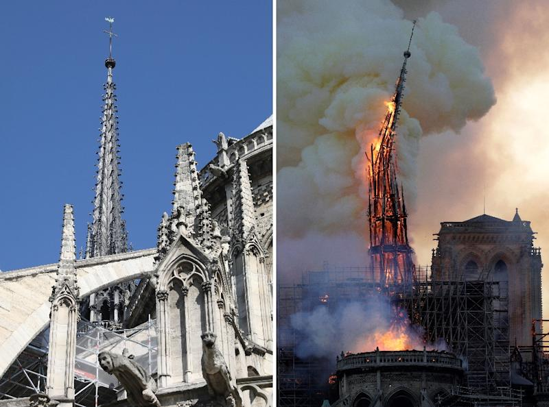The steeple and spire of Notre-Dame de Paris Cathedral before and during the fire of April 15, 2019 (AFP Photo/Ludovic MARIN, Geoffroy VAN DER HASSELT)