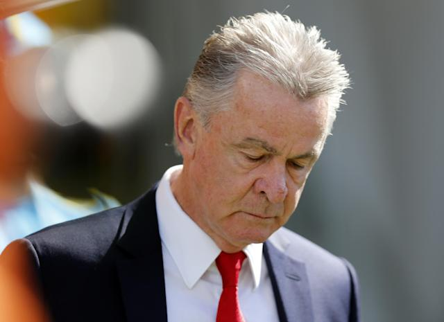 Switzerland's coach Ottmar Hitzfeld arrives for the World Cup round of 16 soccer match between Argentina and Switzerland at the Itaquerao Stadium in Sao Paulo, Brazil, Tuesday, July 1, 2014. (AP Photo/Frank Augstein)