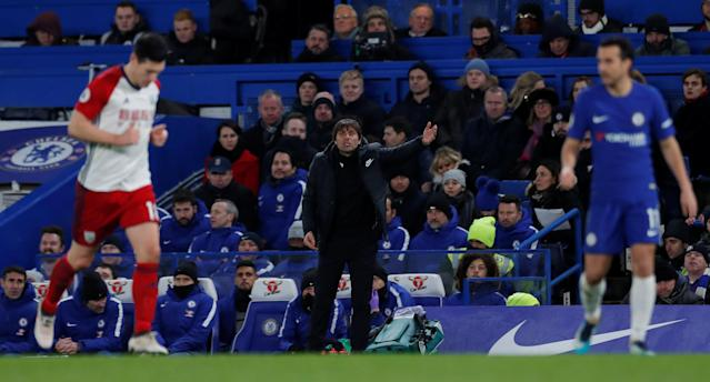 "Soccer Football - Premier League - Chelsea vs West Bromwich Albion - Stamford Bridge, London, Britain - February 12, 2018 Chelsea manager Antonio Conte Action Images via Reuters/Andrew Couldridge EDITORIAL USE ONLY. No use with unauthorized audio, video, data, fixture lists, club/league logos or ""live"" services. Online in-match use limited to 75 images, no video emulation. No use in betting, games or single club/league/player publications. Please contact your account representative for further details."