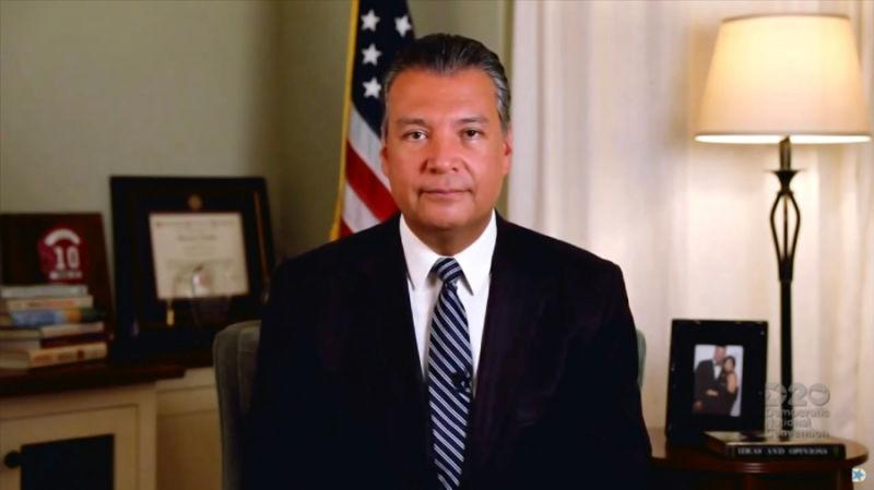 In this screenshot from the DNCC's livestream of the 2020 Democratic National Convention, California Secretary of State Alex Padilla addresses the virtual convention on August 20, 2020. The convention, which was once expected to draw 50,000 people to Milwaukee, Wisconsin, is now taking place virtually due to the coronavirus pandemic.