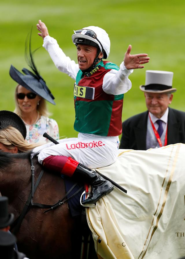 Horse Racing - Royal Ascot - Ascot Racecourse, Ascot, Britain - June 19, 2018 Frankie Dettori celebrates on Without Parole after winning the 4.20 St James's Palace Stakes Action Images via Reuters/Andrew Boyers