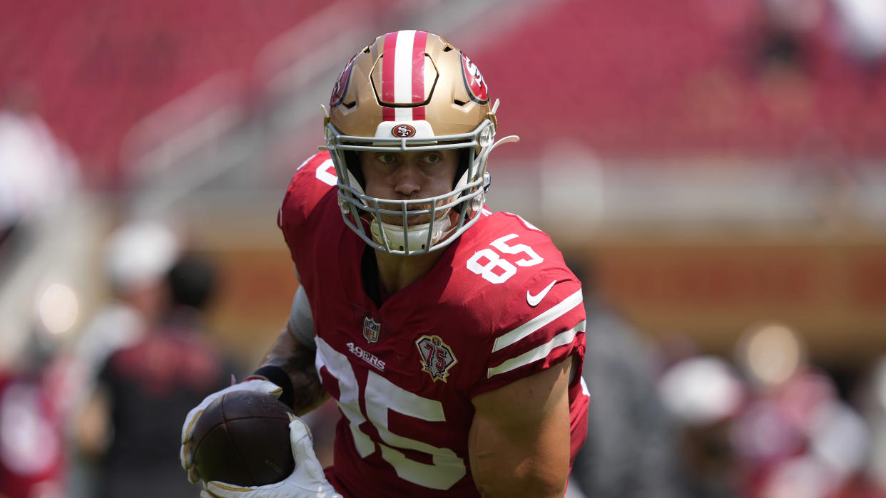 San Francisco 49ers tight end George Kittle and his teammates should have a strong season. (AP Photo/Tony Avelar)