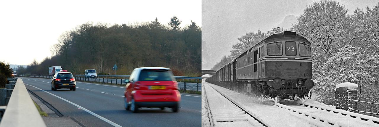 Then and now composite photo showing the Newbury A34 by-pass, the route of which follows the course of the old Didcot, Newbury and Southampton Railway (DN&SR) near Newbury, Berkshire