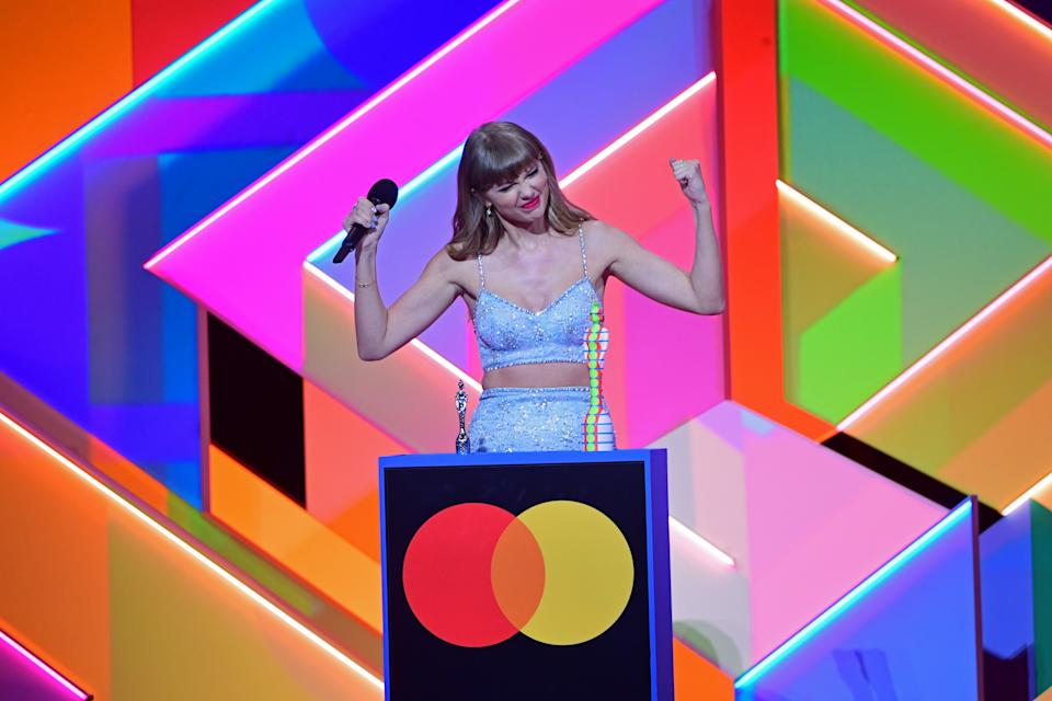 Taylor Swift accepts the Global Icon award during the Brit Awards 2021 at the O2 Arena, London. Picture date: Tuesday May 11, 2021. (Photo by Ian West/PA Images via Getty Images)