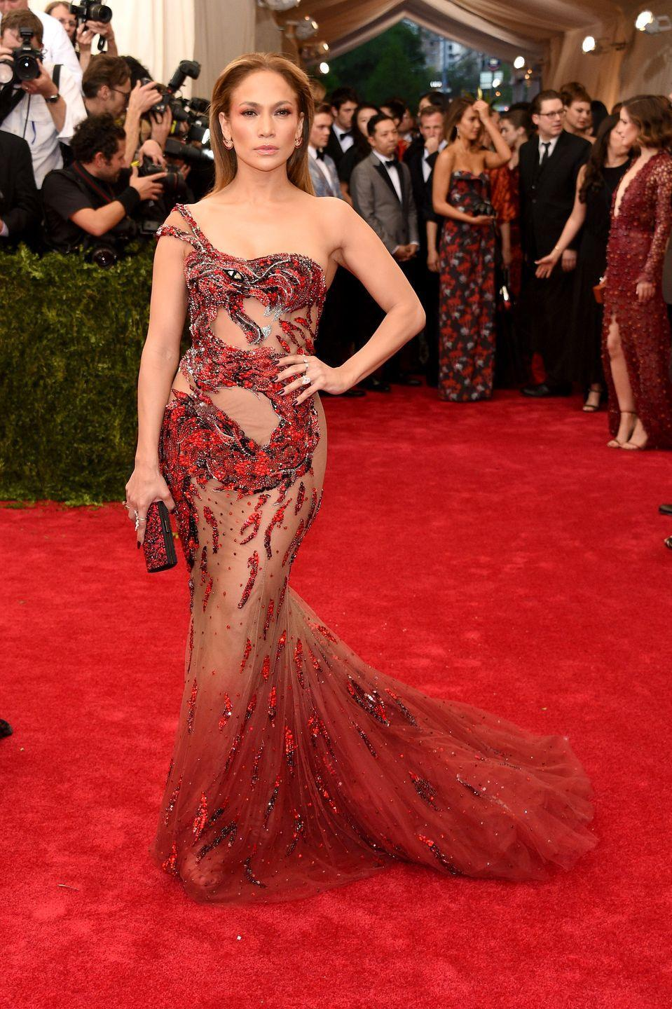 <p>In Atelier Versace at the Met Gala celebrating 'China: Through The Looking Glass'</p>