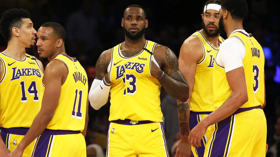 LeBron James and his Los Angeles Lakers teammates, pictured here in action in the NBA.