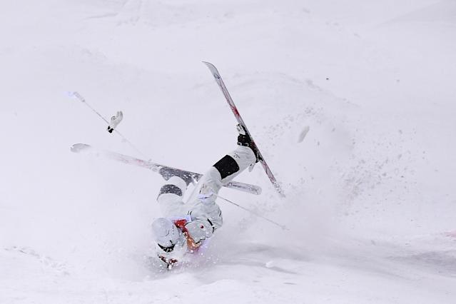 <p>Ikuma Horishima of Japan crashes in the Freestyle Skiing Men's Moguls Final on day three of the PyeongChang 2018 Winter Olympic Games at Phoenix Snow Park on February 12, 2018 in Pyeongchang-gun, South Korea. (Photo by David Ramos/Getty Images) </p>