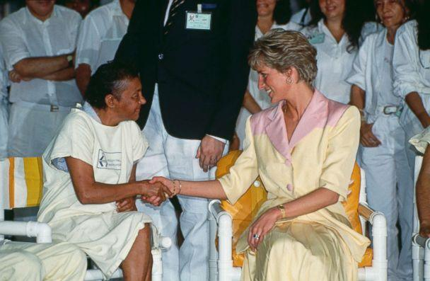 PHOTO: Princess Diana visits patients suffering from AIDS at the Hospital Universidade in Rio de Janeiro, Brazil, April 25, 1991. (Tim Graham/Getty Images, FILE)