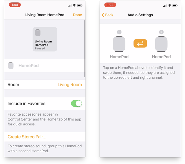 Within the Home app, you can bind two HomePods into a stereo pair.