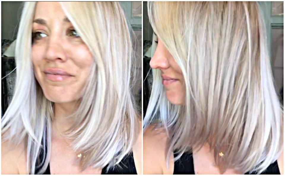 """<p>When: July 2, 2017<br>In a matter of weeks, Kaley Cuoco went from rocking signature bright blonde locks to sherbet highlighted hair. And now the 31-year-old appears to have opted for icy blonde-white hair to keep her cool in the heat.<br>""""Icy hair in the summer,"""" she wrote in a recent Instagram post, tagging her hairstylist, Faye Woods, and the Olaplex hair treatment. Her fans not only love the new colour—they want to copy It, too. """"My next venture!!!"""" one user commented. """"Gah thank you for posting. This is EXACTLY the color and cut I want. Now I have something to take with me to my stylist!! Gorg!!"""" another fan stated. Are you loving her icy hair—and will you be trying it out this summer? (Photos: Instagram) </p>"""