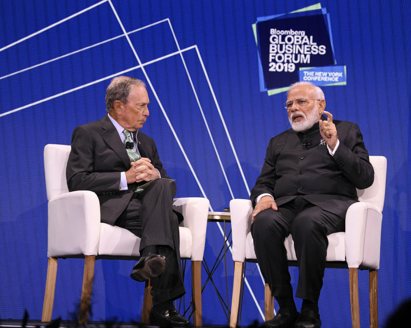 Mike Bloomberg with Hon. Narendra Modi, Prime Minister of the Republic of India, at the 3rd annual Bloomberg Global Business Forum in New York City on September 25, 2019 at The Plaza Hotel. (Source: Bloomberg Philanthropies)