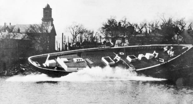 The L.A. Dunton is launched at the A.D. Story shipyard in Essex, Mass., in 1921.