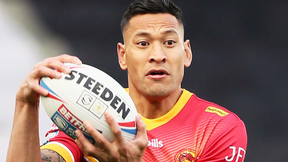 Israel Folau, pictured here in action for Catalans Dragons in 2020.
