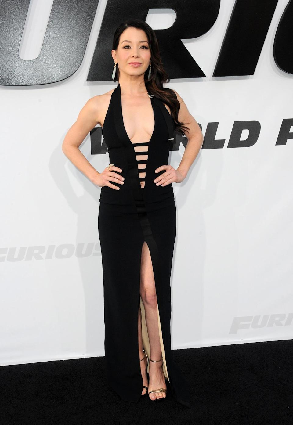 Wearing a dress that Cara Delevingne, Lala Anthony, and Georgia May Jagger have worn before her, actress Katherine Castro pulled off the black Mugler dress with deep V and high slit despite the deep (and intimidatingly gorgeous) competition.