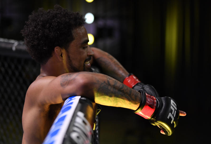 LAS VEGAS, NEVADA - MAY 30: Roosevelt Roberts reacts after his submission victory over Brok Weaver in their lightweight fight during the UFC Fight Night event at UFC APEX on May 30, 2020 in Las Vegas, Nevada. (Photo by Jeff Bottari/Zuffa LLC)