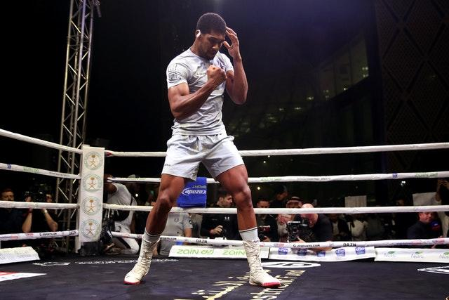 Anthony Joshua takes part in a public work-out on Tuesday (Nick Potts/PA).