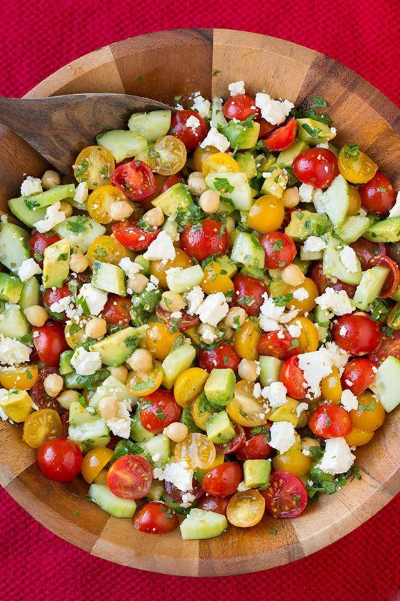 "<p>Add feta cheese and lemon dressing for even more Greek flavoring.</p><p>Get the recipe from <a href=""http://www.cookingclassy.com/2015/03/tomato-avocado-cucumber-chick-pea-salad-with-feta-and-greek-lemon-dressing/"" rel=""nofollow noopener"" target=""_blank"" data-ylk=""slk:Cooking Classy"" class=""link rapid-noclick-resp"">Cooking Classy</a>.</p>"