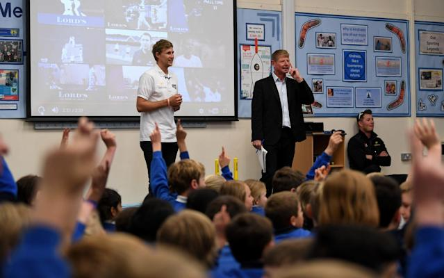 <span>Joe Root takes questions from pupils at his old school</span> <span>Credit: GETTY IMAGES </span>