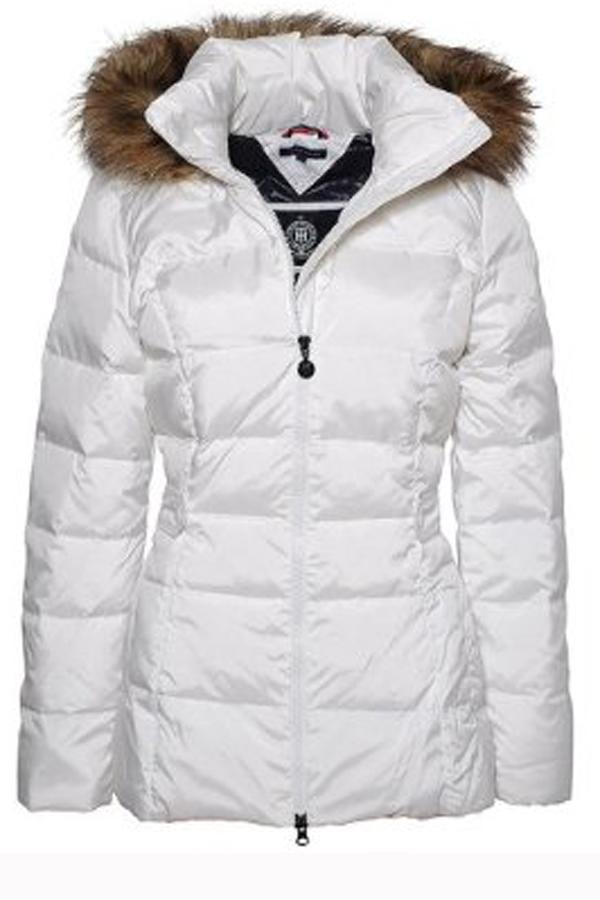 Snow style: Winter is the perfect time to wear white so try this Tommy Hilfiger parka with faux fur trim