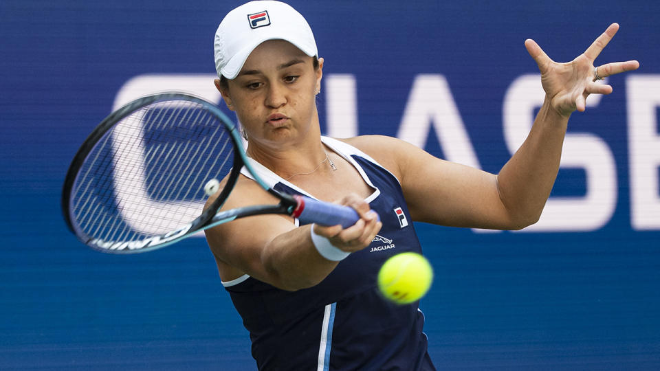 Ash Barty, pictured here in action against Clara Tauson at the US Open.