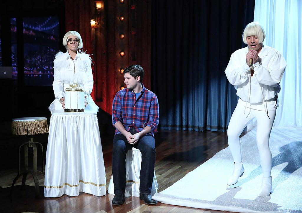 LATE NIGHT WITH JIMMY FALLON -- Episode 735 -- Pictured: (l-r) Lindsay Lohan and host Jimmy Fallon during a skit on November 14, 2012 -- (Photo by: Lloyd Bishop/NBC/NBCU Photo Bank)