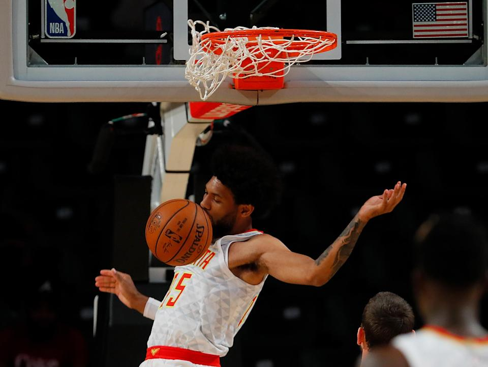 DeAndre' Bembry dunks on his own face. This season might feel like that pretty often for the Hawks. (Getty)