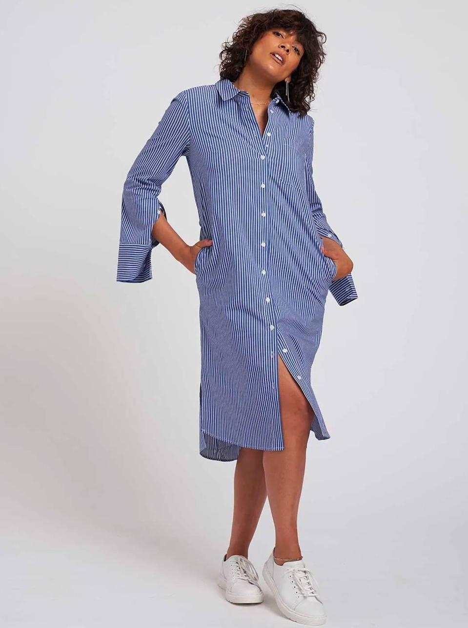 """Back in the office? Your work wardrobe isn't complete without a solid button-down dress. $128, Universal Standard. <a href=""""https://www.universalstandard.com/products/peyton-poplin-shirt-dress-blue-white-stripe"""" rel=""""nofollow noopener"""" target=""""_blank"""" data-ylk=""""slk:Get it now!"""" class=""""link rapid-noclick-resp"""">Get it now!</a>"""