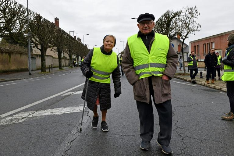 Retired protesters in Bourges, central France, on Saturday